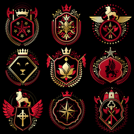 Set of vector retro vintage insignias created with design elements like medieval castles, armory, wild animals, imperial crowns. Collection of coat of arms.
