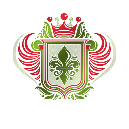 rolled up: Vintage heraldic emblem created with monarch crown and lily flower royal symbol. Best quality product symbol, organic food theme illustration, winged guard shield made with rolled-up ends. Illustration