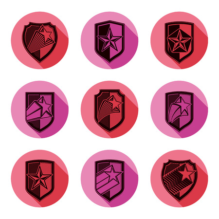 Heraldry, set of military forces emblems. Detailed shields with pentagonal star, sheriff vector blazon.