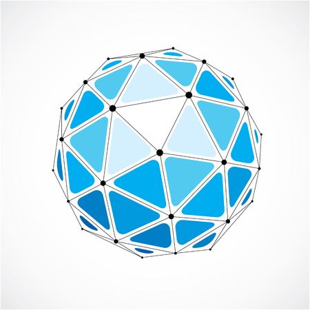 Vector wireframe dimensionnel objet faible poly, forme sphérique bleu avec grille noire. Technologie élément 3d de maille faite en utilisant les facettes triangulaires pour une utilisation en tant que forme de conception en ingénierie.