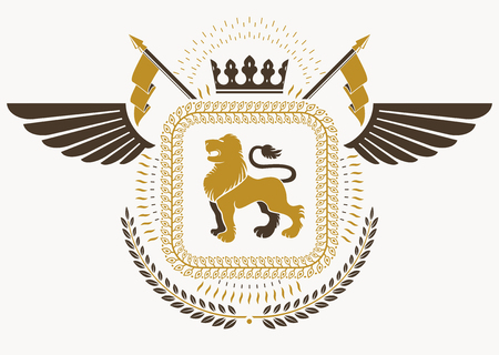 lion wings: Vintage heraldry design template with bird wings, vector emblem created with wild lion illustration and imperial crown.