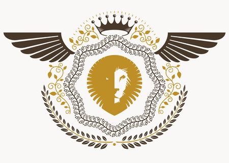 winged lion: Vintage heraldry design template with bird wings, vector emblem created with wild lion illustration and monarch crown
