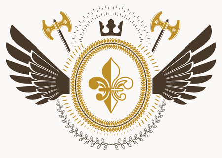 Heraldic sign made using vector vintage elements, armory and royal crown