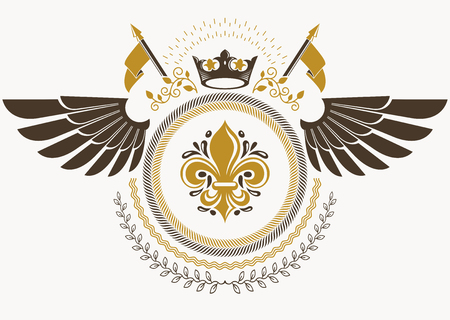 Heraldic sign made using vector vintage elements, bird wings and royal crown Illustration