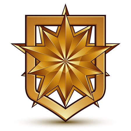 Vector glorious glossy design element with luxury 3d polygonal golden star, conceptual graphic template, clear EPS 8.