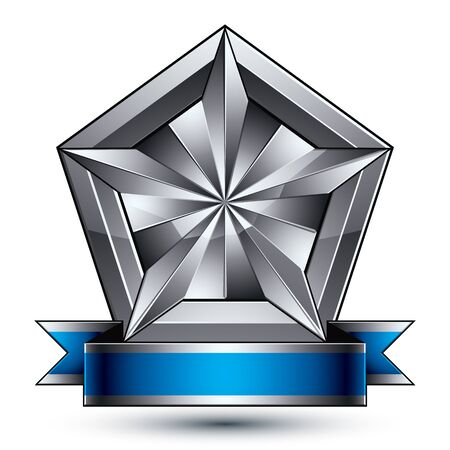 argent: Heraldic 3d glossy blue and gray icon - can be used in web and graphic design, complicated facet silver star placed over shield magnificent element with elegant ribbon, clear EPS 8 vector.