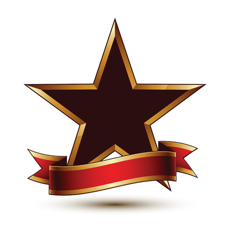 Glamorous vector template with pentagonal black stars with golden outline, best for use in web and graphic design. Conceptual heraldic icon with red curved ribbon, clear eps8 vector.