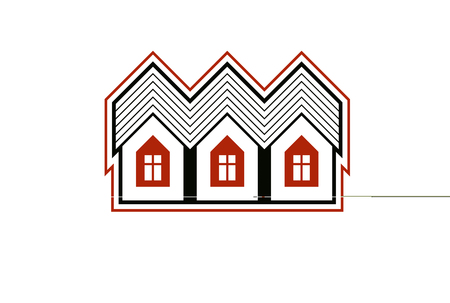 building sector: Simple cottages vector illustration, country houses, for use in graphic design. Real estate concept, region or district theme. Building company abstract corporate image.