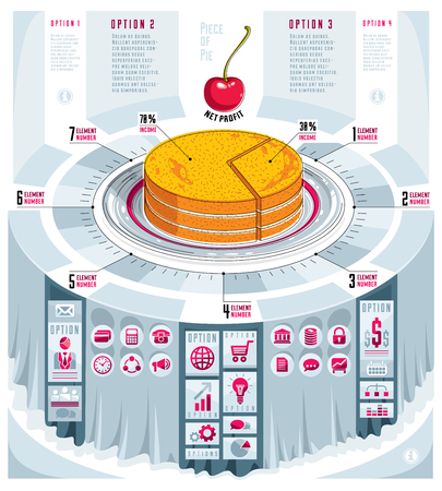 Creative infographics concept, piece of pie idea,vector illustration. Illustration