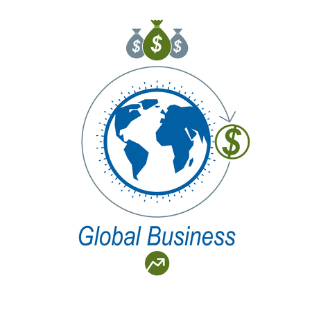 Global Business creative logo, unique vector symbol created with different elements. Global Financial System. World Economy.