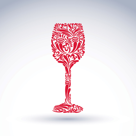 Creative goblet with floral ethnic pattern, relaxation and alcohol theme object. Sophisticated wineglass, romantic vector design element, can be used in graphic design.
