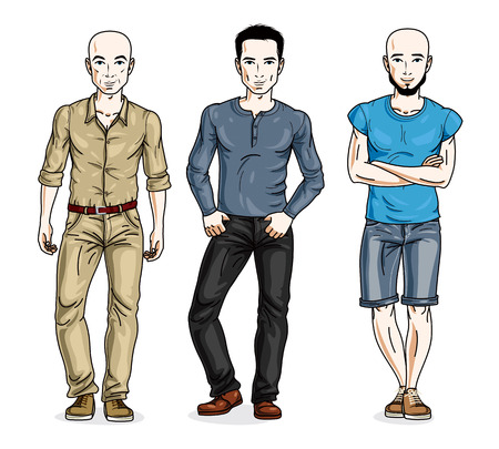 t shirt model: Happy men group standing wearing fashionable casual clothes. Vector people illustrations set. Lifestyle theme male characters.