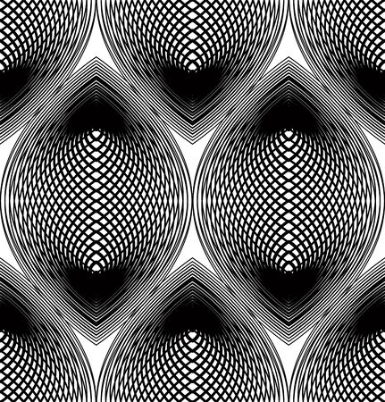 Ornate vector monochrome abstract background with overlapping black lines. Symmetric decorative graphical pattern, geometric stripy illustration.