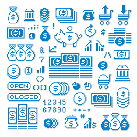 Vector pixel icons isolated, collection of 8bit graphic elements. Simplistic digital signs created in business and finance theme. Çizim