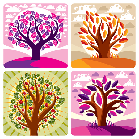 Art vector graphic illustration of stylized tree and peaceful purple and orange fantastic landscape with clouds and setting sun. Beautiful nature, ecology theme. Illustration