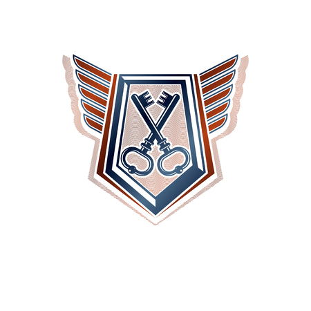 Creative vintage emblem with old keys, vector heraldic design, protection shield with wings.