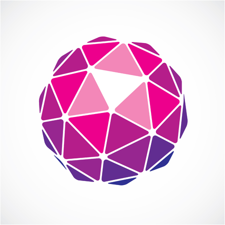 3d vector low poly purple spherical object, perspective orb created with triangular facets. Abstract polygonal element for use as design structure on communication technology theme