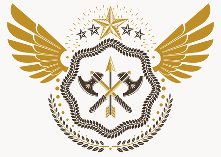 Heraldic sign made using vector vintage elements, hatchets and pentagonal stars Illustration