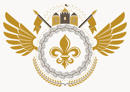 Heraldic sign made using vector vintage elements, bird wings and medieval tower