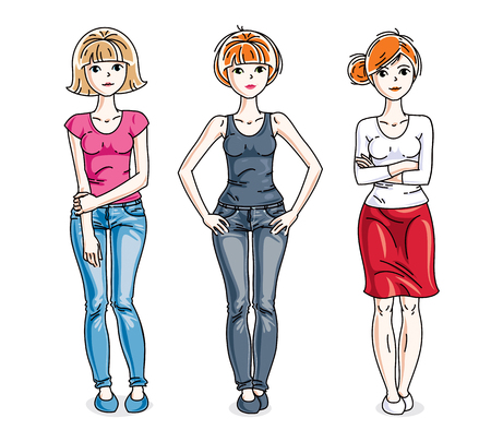 t shirt model: Attractive young women posing wearing casual clothes. Vector diversity people illustrations set.