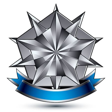 Heraldic 3d glossy blue and gray icon - can be used in web and graphic design, complicated silver star placed over shield magnificent element with elegant ribbon, clear EPS 8 vector.