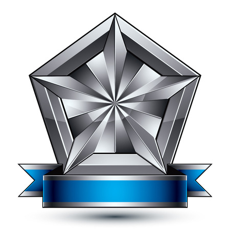 Heraldic 3d glossy blue and gray icon - can be used in web and graphic design, complicated facet silver star placed over shield magnificent element with elegant ribbon, clear EPS 8 vector.