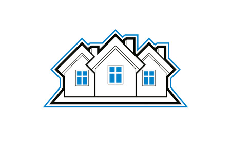 Simple cottages vector illustration, country houses, for use in graphic design. Real estate concept, region or district theme. Building company abstract corporate image.