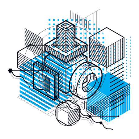 Isometric abstraction with lines and different elements, vector abstract background. Composition of cubes, hexagons, squares, rectangles and different abstract elements.