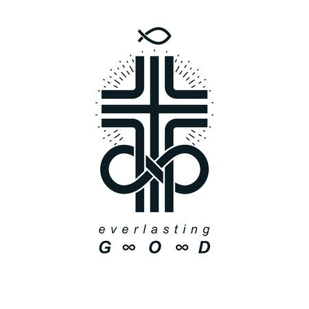 Eeuwig God vector creatief symboolontwerp gecombineerd met oneindige eindeloze lus en christelijk kruis, vectorlogo of -teken.