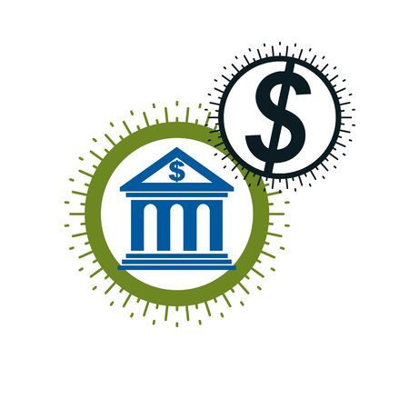 courthouse: Banking and Finance conceptual logo, unique vector symbol. Banking system. The Global Financial System. Circulation of Money. Illustration