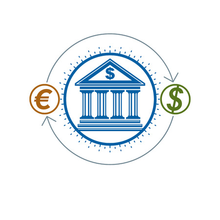 Banking and Finance conceptual logo, unique vector symbol. Banking system. The Global Financial System. Circulation of Money. Illustration