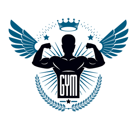 Fitness and heavyweight gym sport club logotype template, retro style vector emblem with wings. With sportsman silhouette.