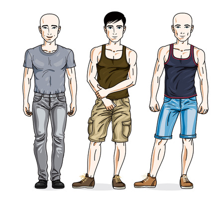 Happy men group standing wearing fashionable casual clothes. Vector people illustrations set.