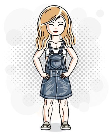 Cute little blonde girl in jeans wear. Vector illustration of human standing. Illustration