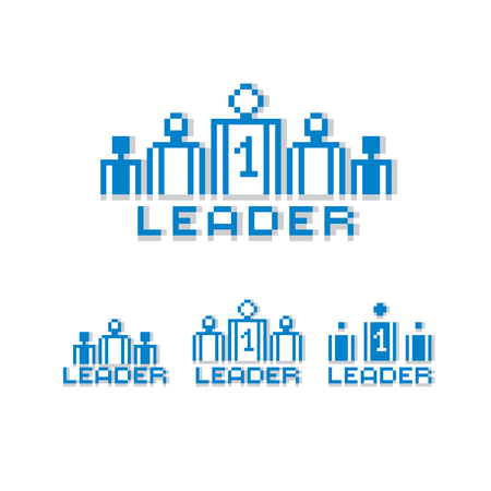 Vector pixel icon isolated, 8bit graphic element. Leader concept, number one between a team of managers. Simplistic digital sign created in business theme. Çizim