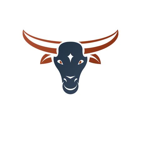 armory: Horned bull head ancient emblem animal element. Heraldic vector design element. Retro style label, heraldry logo.