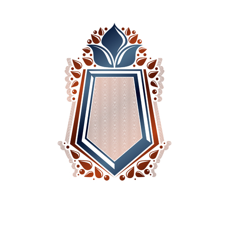 armory: Blank heraldic design with copy space, vector vintage protection shield emblem decorated with lily flower and leaves.