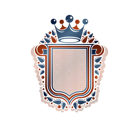 Blank heraldic design with copy space and cartouche, vector vintage protection shield emblem decorated with royal crown and rolled-up ends.