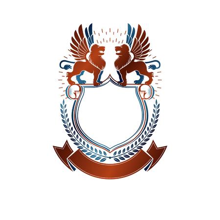 Emblema gráfico compuesto por Leones Valientes y hermosa cinta. El logotipo decorativo heráldico del escudo de armas aisló el ejemplo del vector. Foto de archivo - 77457054