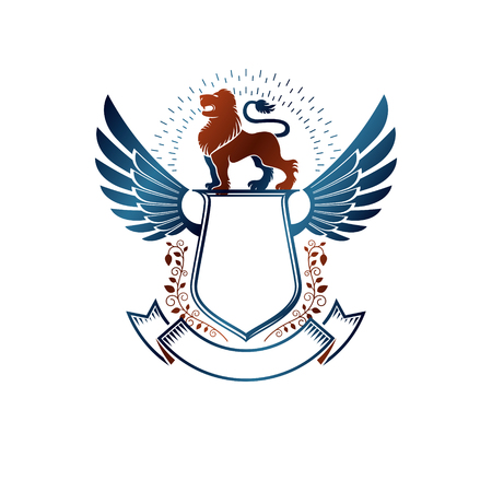 winged lion: Graphic winged emblem composed with Brave Lion King and beautiful ribbon. Heraldic Coat of Arms decorative logo isolated vector illustration. Vectores