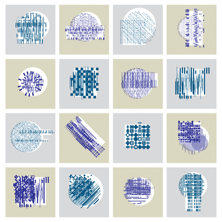 encoding: Abstract geometric compositions set, vector backgrounds collection. Illustration
