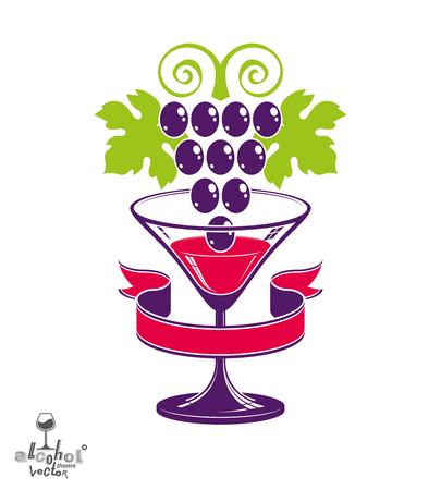 Stylized half full glass of wine with grapes cluster and decorative ribbon, best for use in advertising and graphic design. Illustration