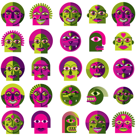 Mythic creatures collection, modern art, set of fantastic odd characters expressing different emotions.