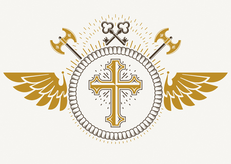 armory: Vintage winged emblem created in vector heraldic design and composed using religious cross, hatchets and security keys.