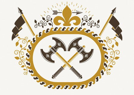 armory: Vintage winged emblem created in heraldic design and composed using hatchets and lily flower royal symbol.