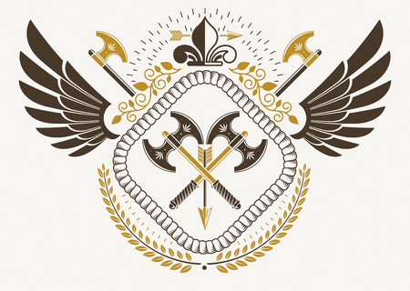 armory: Vintage winged emblem created in vector heraldic design and composed using hatchets and lily flower royal symbol.