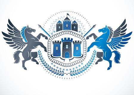 Design element created using mythic Pegasus illustration, pentagonal stars. Illustration