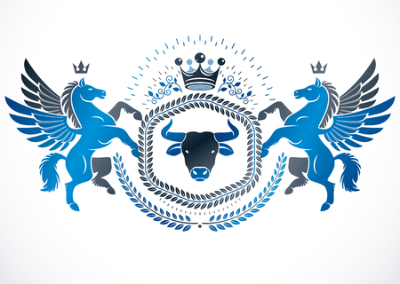 Vector emblem made in vintage heraldic design created with vector elements like mythic Pegasus, wild bison and monarch crown.