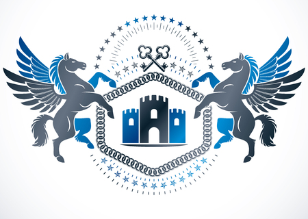 Vintage emblem created in vector heraldic design and composed using graceful mythic Pegasus, security keys and ancient tower.