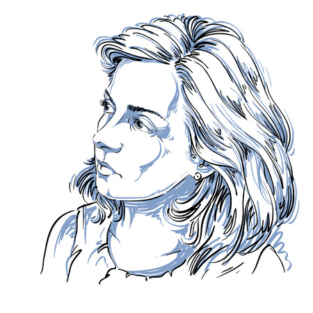 Vectortekening van vreedzame vrouw met modieus kapsel. Zwart en wit portret van aantrekkelijke rustige romantische dame.